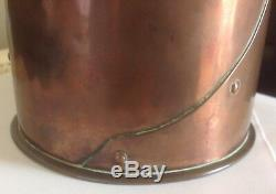 Rare Original Antique Arts and Crafts signed Newlyn Copper round Caddy