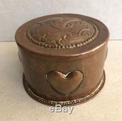 Rare Original Arts and Crafts John Pearson signed Copper Box Hearts and Galleon