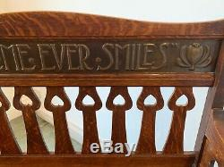 Rare Original Arts and Crafts Shapland and Petter Motto Oak Settle c1900