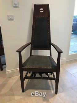 Rare Original Pair of Arts and Crafts Oak Glasgow Carver Chairs