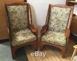 Rare Pair Of Ambrose Heal Solid Oak Arts And Crafts Armchairs Settles 1899 Heals