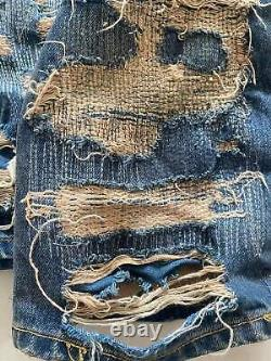 Remade handmade Undercover 85 style arts and crafts blue jeans