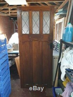 SOLID OAK Front DOOR with 3 glazed panels. ARTS and CRAFTS 1930's or 1950's