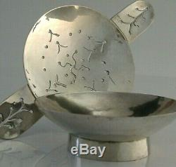 SOLID SILVER ARTS AND CRAFTS TEA STRAINER & DRIP BOWL c1940 ANTIQUE HAND MADE