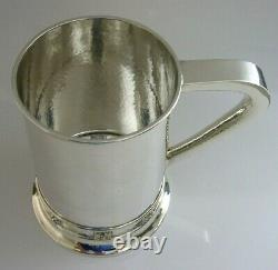 SUPERB RARE SOLID STERLING SILVER ARTS AND CRAFTS PINT TANKARD A E JONES 342g