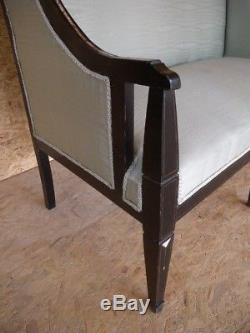 Selten Arts and Crafts Jugendstil Sofa Bank + Stuhl Perlmutt Messing Intarsien