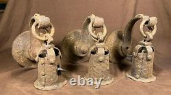 Set Of 3 Antique Arts and Crafts / Gothic Mission Hammered Wall Sconce