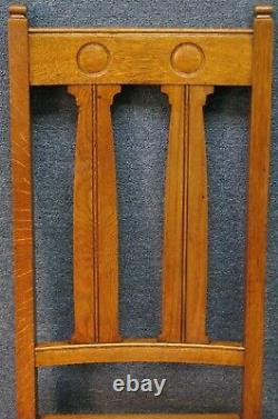 Set Of 4 Arts And Crafts Shapland And Petter Solid Oak Dining Chairs