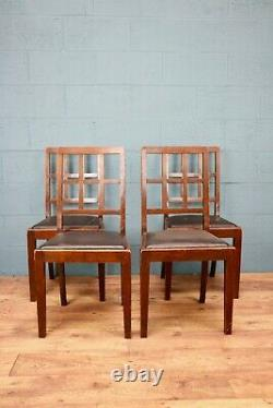 Set of 4 Oak Dining Chairs, Heals Style (100743)