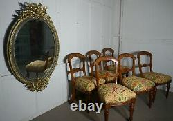 Set of 6 Arts and Crafts Gothic Golden Oak Dining Chairs