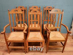 Set of 6 Arts and Crafts Oak Dining Chairs (100964)