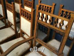 Set of 8 Arts and Crafts oak dining chairs circa 1910 restoration project