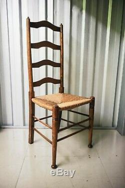 Set of four Arts and Crafts Movement Antique ash ladder back rush chairs