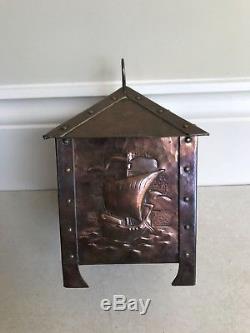 Signed Rare Original Antique Arts and Crafts Newlyn Copper casket box Galleons