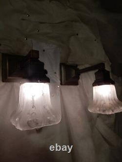 Simple Mission Style Arts and Crafts Sconces Sheffield Pattern with Etched Shades
