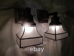 Simple Mission Style Arts and Crafts Sconces With Black Decorated Etched Shades