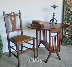 Small Oak Arts And Crafts Inlaid Sutherland Drop Leaf Table