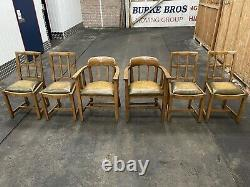 Solid Oak Heals Style Arts and Crafts Refectory Dining Table/6 Lattice Chairs