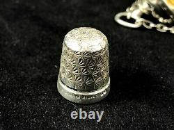 Sterling Silver Art And Crafts Hammered Decoration Chatelaine Thimble Holder