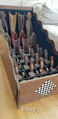 Stunning, Unique Arts And Crafts Chess Set Depicted As Carved Chairs