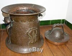 Stylish Liberty & Co Arts And Crafts Hand Beaten Copper Wood Basket