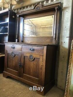 Superb Arts And Crafts Oak Mirror Back Sideboard