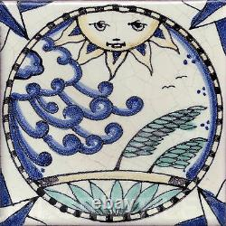 Superb Arts & Crafts Style Sun & Moon Fireplace Tiles Set (2 X 5 Tile Panels)