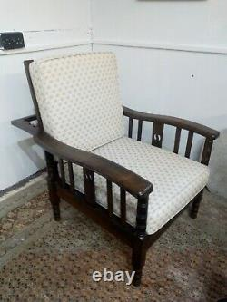 Superb Arts and Crafts Oak Reclining Armchair 1920s Reupholstered Chair 1920s