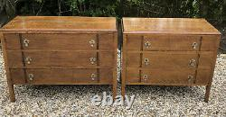Superb Pair Of Arts And Crafts Golden Solid His & Hers Oak 3 Drawer Chests
