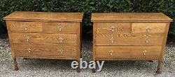Superb Pair Of Arts And Crafts Golden Solid Oak 4 Drawer Chests Of Drawers