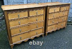 Superb Pair Of Large Arts And Crafts Solid Oak 5 Drawer Chests Of Drawers