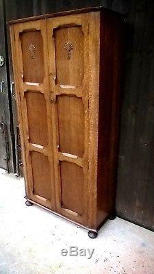 Superb Quality Arts And Crafts Hall Robe / Gentlemans Wardrobe / Oak Wardrobe