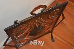 Superb original Arts and Crafts firescreen copper wrought iron fire screen