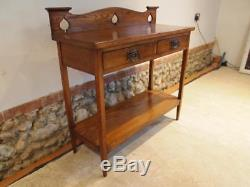 Table rare Arts and Crafts Oak hall lamp console c1900