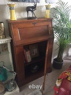 Unusual Slim Antique Oak Arts And Crafts Students Bureau Cupboard Shelves