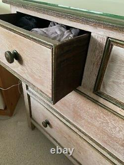 VINTAGE Arts And Crafts Style Chest Of Drawers Limed Oak