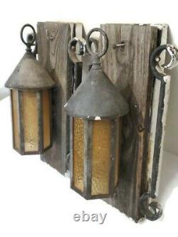 VTG Gothic arts and crafts porch light scones lantern lamp fixtures antique