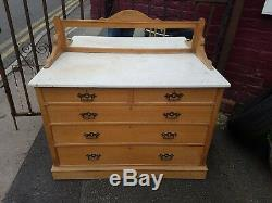 Very Nice Arts and Crafts Wash Stand Dressing Table in Ash with Marble Top