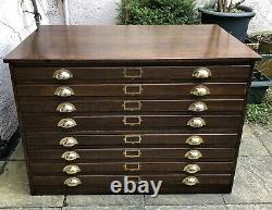 Very Rare Arts And Crafts Antique 8 Drawer Plan Artists Chest We Deliver