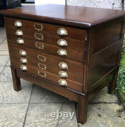 Very Rare Small Arts And Crafts Antique 6 Drawer Plan Artists Chest We Deliver