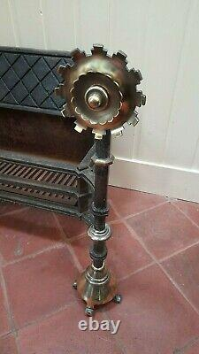 Very large antique arts and crafts fire basket iron and brass fireplace