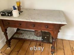 Victorian Arts and Crafts Mahogany Marble Top Wash Stand with Minton Tiles