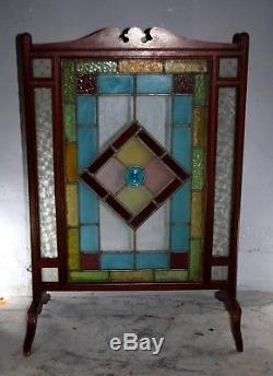 Victorian Arts and Crafts stained glass fire screen stand 1900