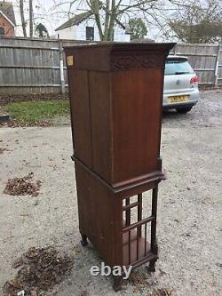 Victorian Oak Arts And Crafts Filing Or Music Cabinet