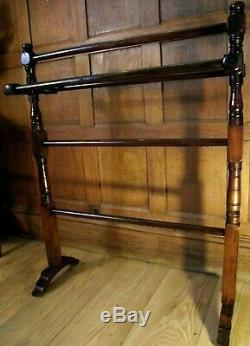 Victorian Towel Rail Stand C1890 in Mahogany Arts and Crafts Towel Rail