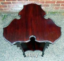 Victorian antique Arts & Crafts Shapland and Petter shaped mahogany lamp table