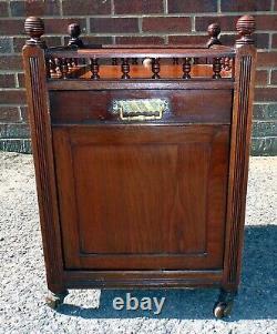Victorian antique solid walnut Arts & Crafts coal box purdonium scuttle & shovel
