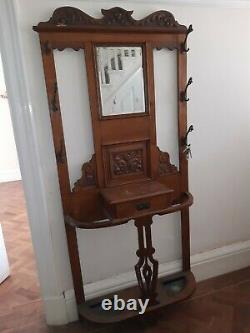 Vintage ARTS AND CRAFTS STYLE HALL HAT STAND WITH MIRROR AND COAT HOOKS
