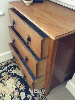Vintage, Antique Arts and Crafts Oak Small Chest of Three Drawers