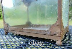 Vintage Antique Arts and Crafts Style Metal Glass Terrarium Painted Brown #1